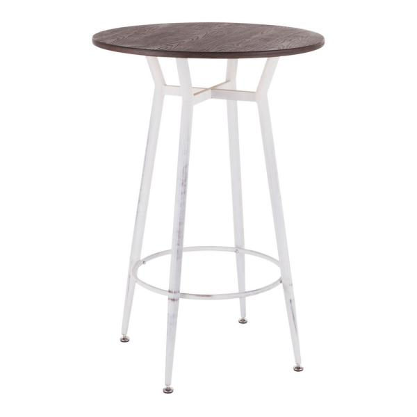 Clara Industrial Round Vintage White Metal and Espresso Wood Bar Table