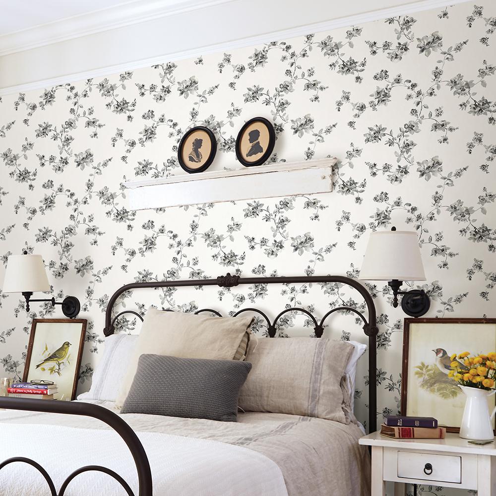 56.4 sq. ft. Cyrus Black Floral Wallpaper