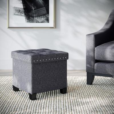 Payton Foldable Cube Storage Ottoman Footrest and Seat with Gray Fabric