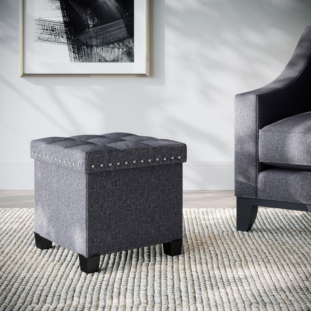 Payton Charcoal Gray Upholstered Foldable Storage Ottoman