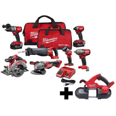 M18 FUEL 18-Volt Lithium-Ion Brushless Cordless Combo Kit (7-Tool) with  M18 FUEL Compact Bandsaw