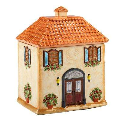 Piazzette Multi-Colored 3-D Villa House 8.25 in. x 6.5 in. x 10.5 in. Cookie Jar