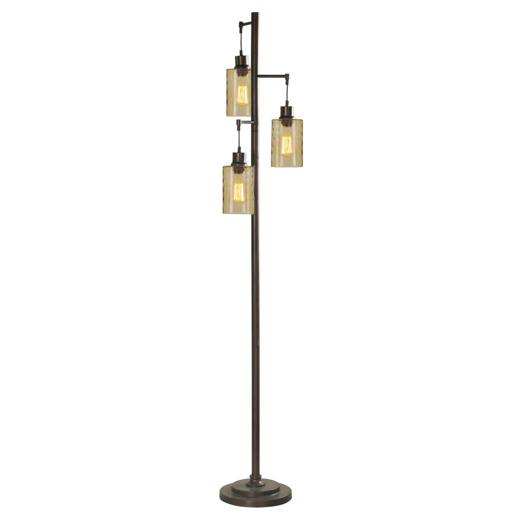StyleCraft 72 in. Bronze Floor Lamp with Clear Glass Shade