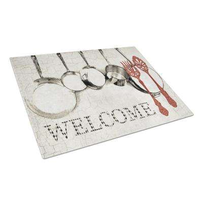 Pots and Pans Welcome Tempered Glass Large Cutting Board