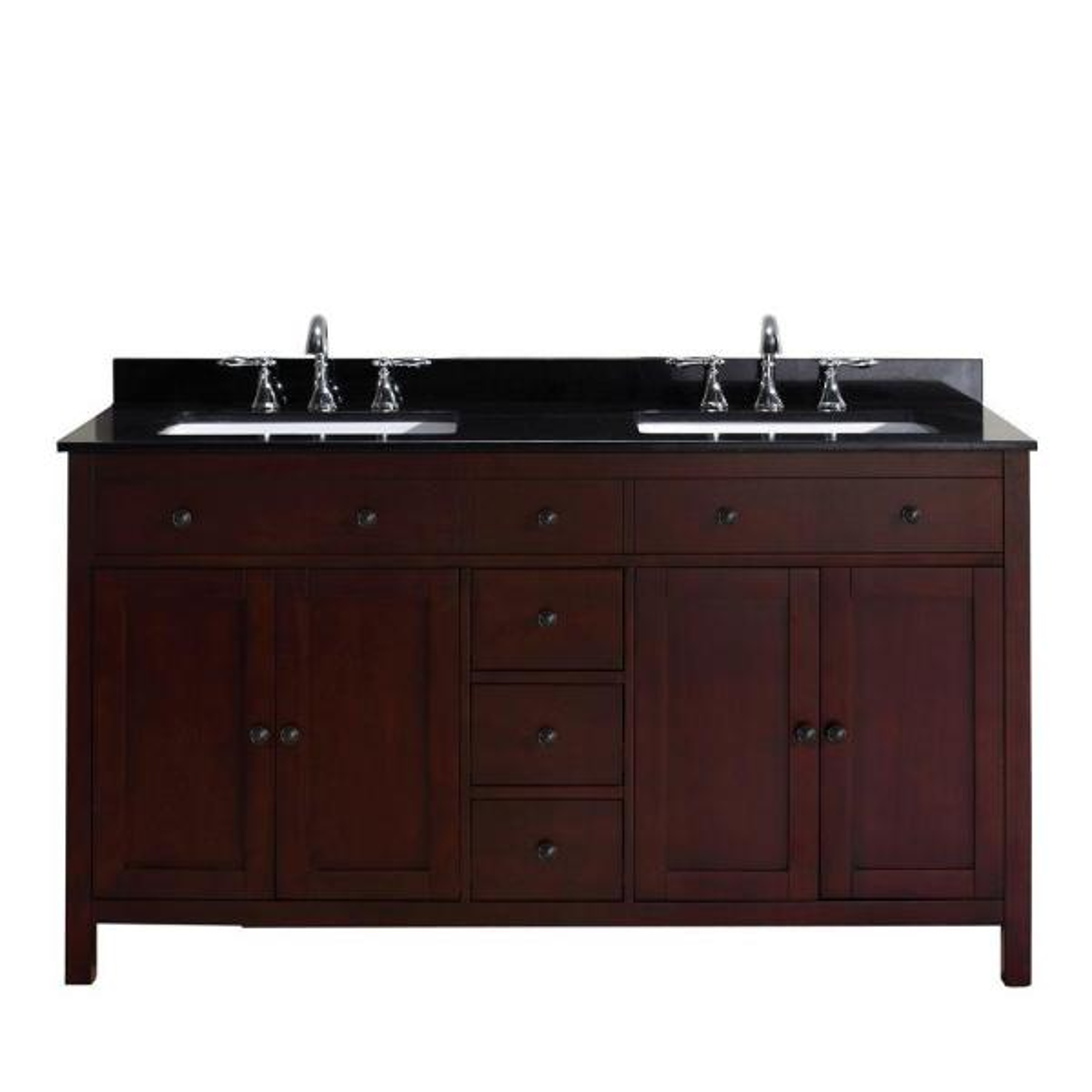 Pegasus Austen 60 In Vanity In Dark Cherry With Granite Vanity Top In Black Peausten60 The Home Depot