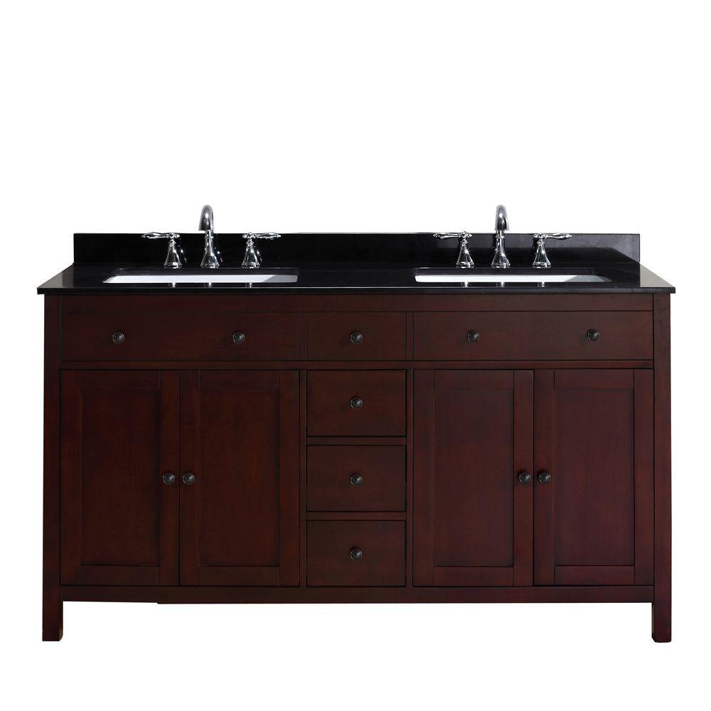 Pegasus Austen 60 inch Vanity in Dark Cherry with Granite Vanity Top in Black by Pegasus