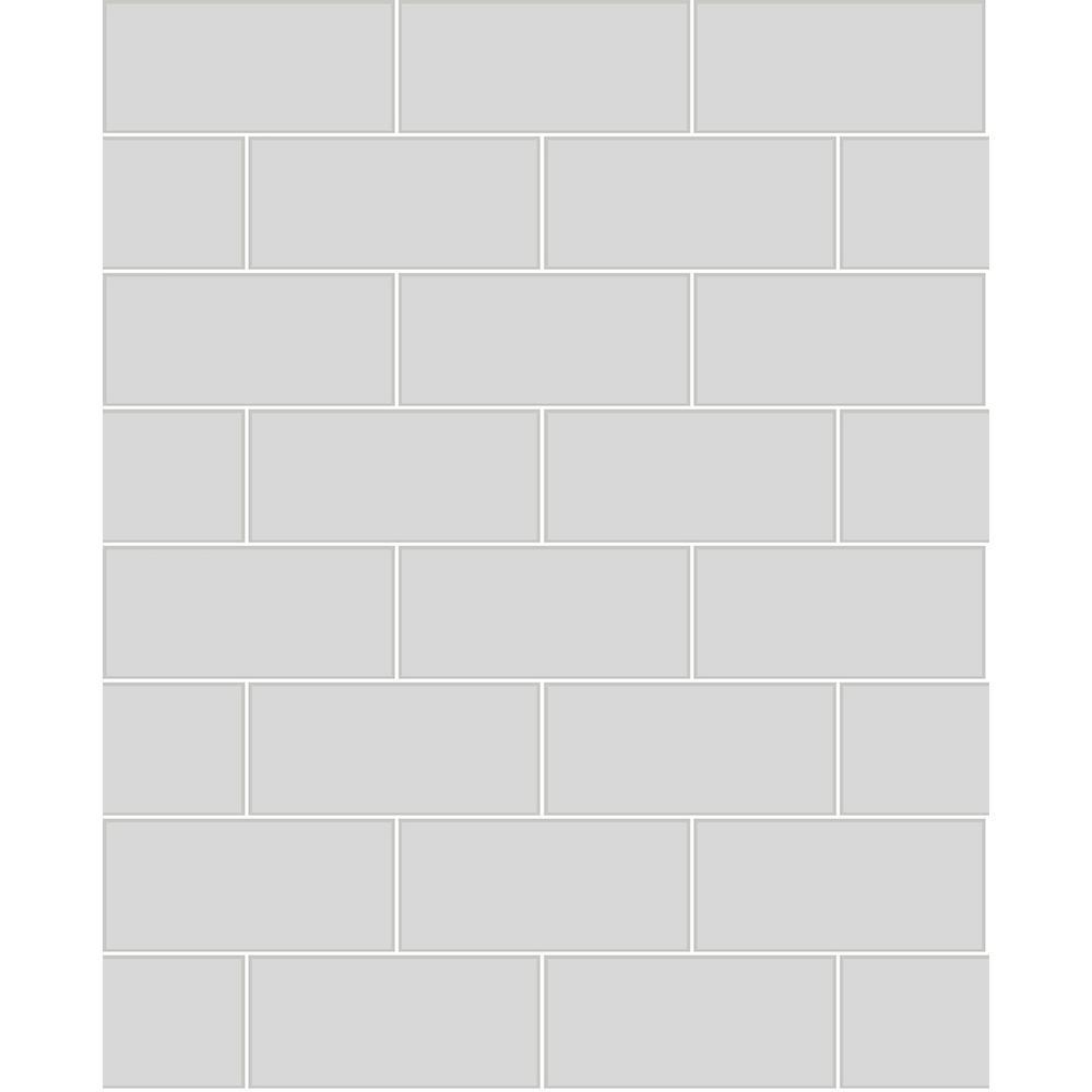 8 In X 10 Galley Light Grey Subway Tile Wallpaper Sample