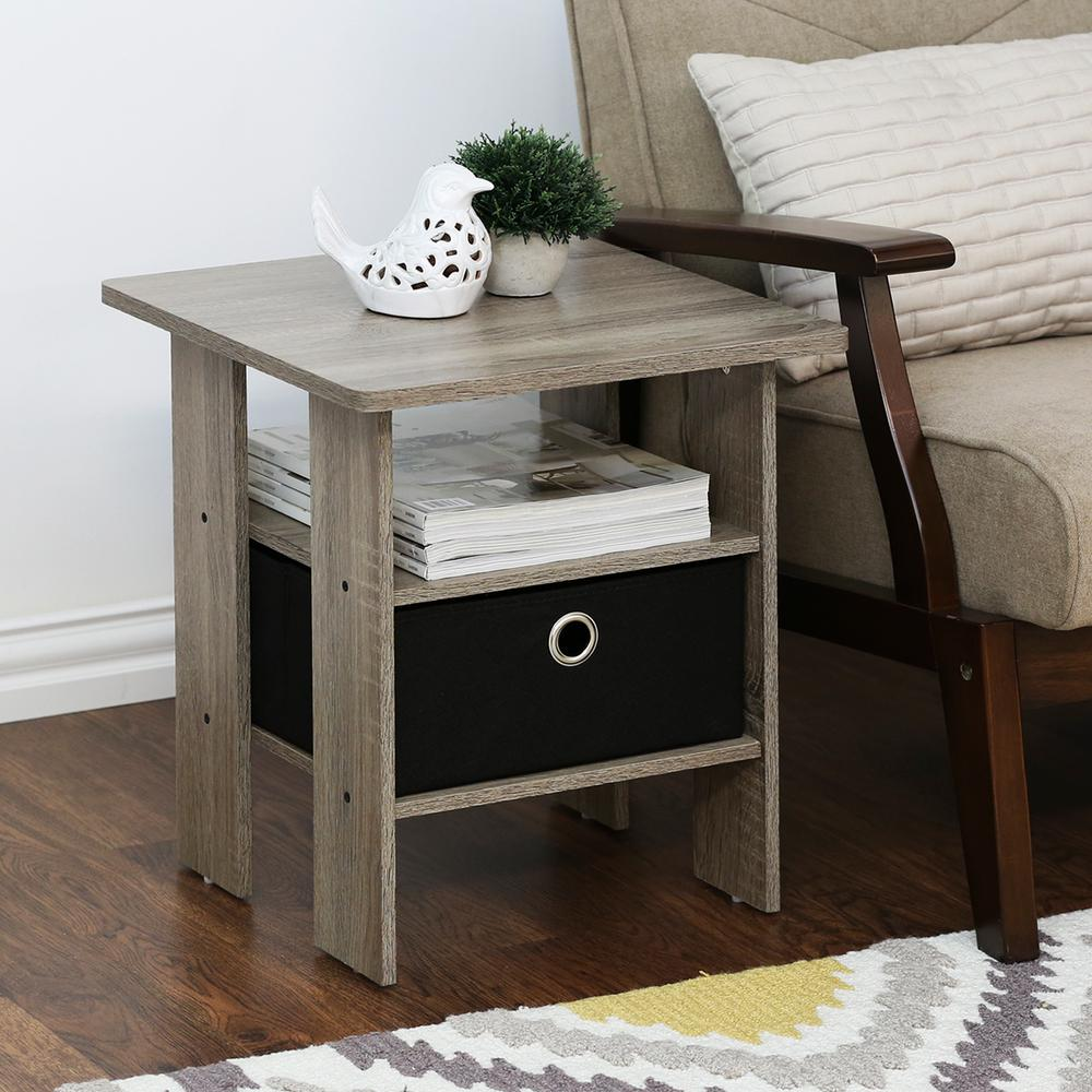 French Oak Grey and Black Storage End Table