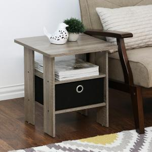 Furinno Home Living French Oak Grey Storage End Table (Set of 2) by Furinno
