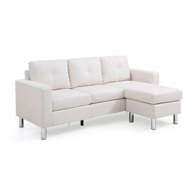 White Small Space Convertible Sectional Sofa