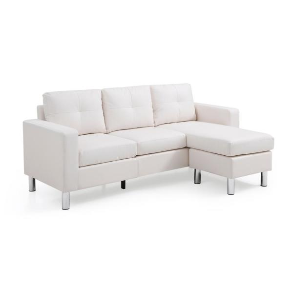Super White Small Space Convertible Sectional Sofa 73030 40Wh Machost Co Dining Chair Design Ideas Machostcouk