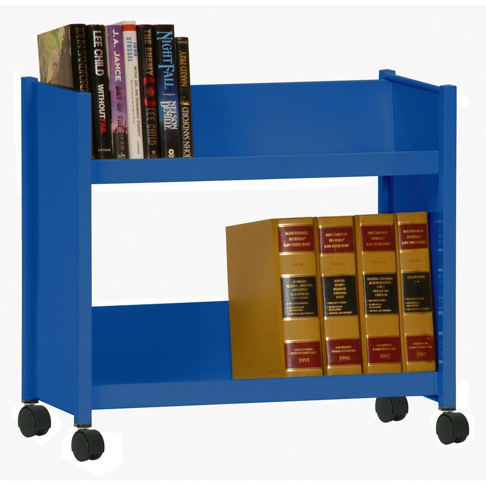 2-Sloped Shelf Welded Booktruck in Ocean