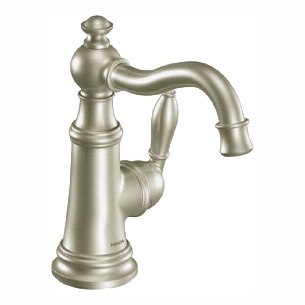 MOEN Weymouth Single Hole Single-Handle High-Arc Bathroom Faucet in Brushed Nickel