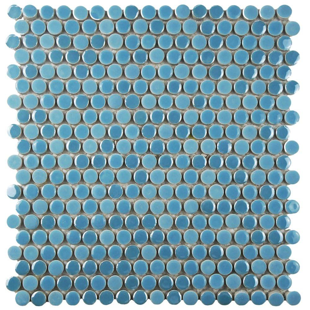 Merola Tile Galaxy Penny Round Sky 11-1/4 in. x 11-3/4 in. x 9 mm ...