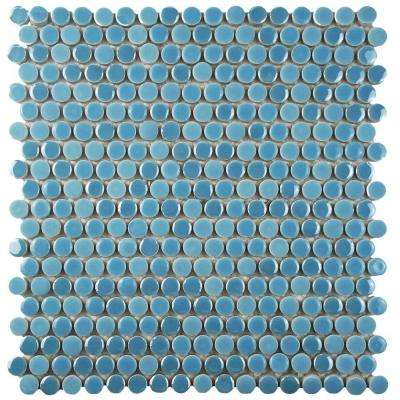 Galaxy Penny Round Sky 11-1/4 in. x 11-3/4 in. x 9 mm Porcelain Mosaic Tile