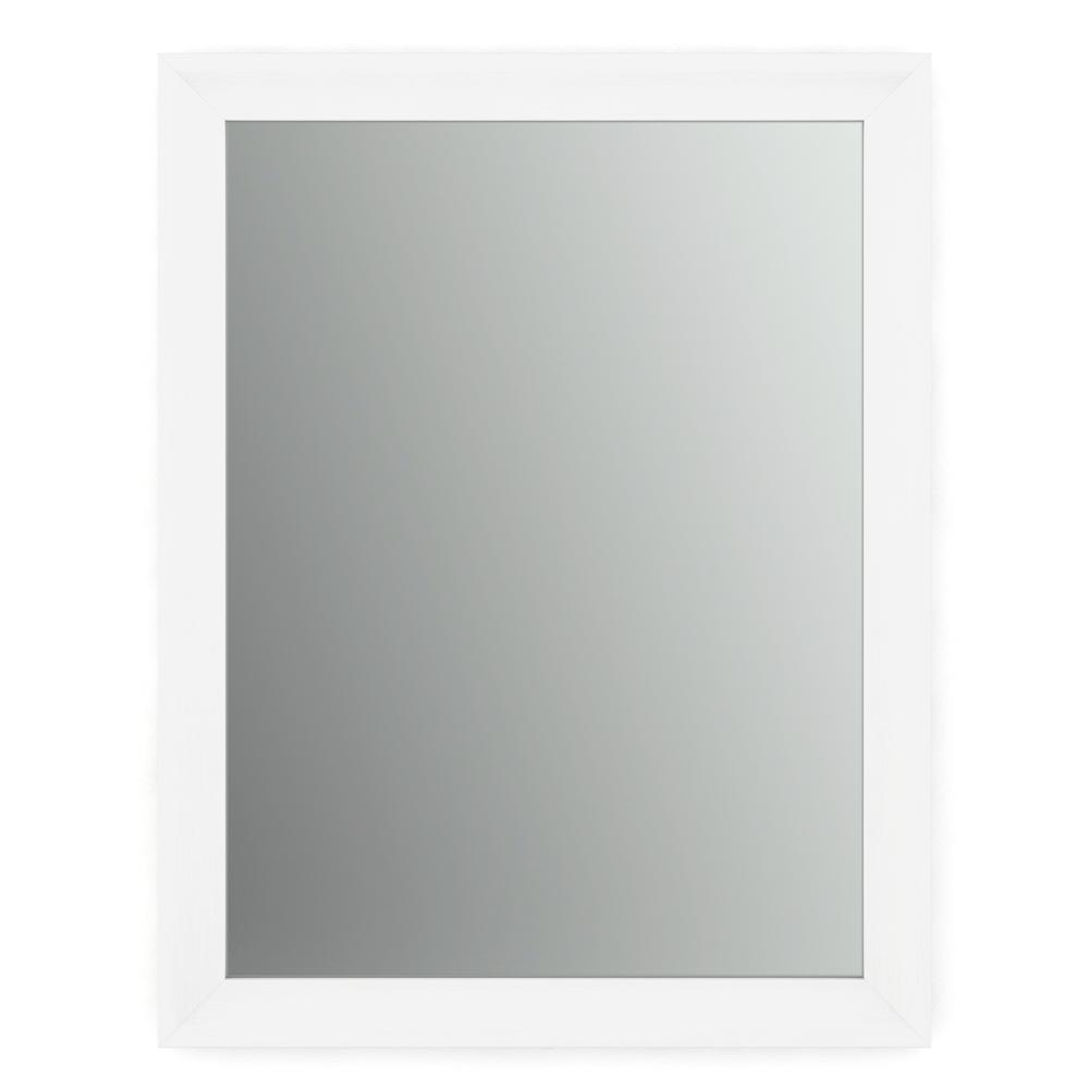 21 in. W x 28 in. H (S1) Framed Rectangular Standard Glass Bathroom Vanity Mirror in Matte White