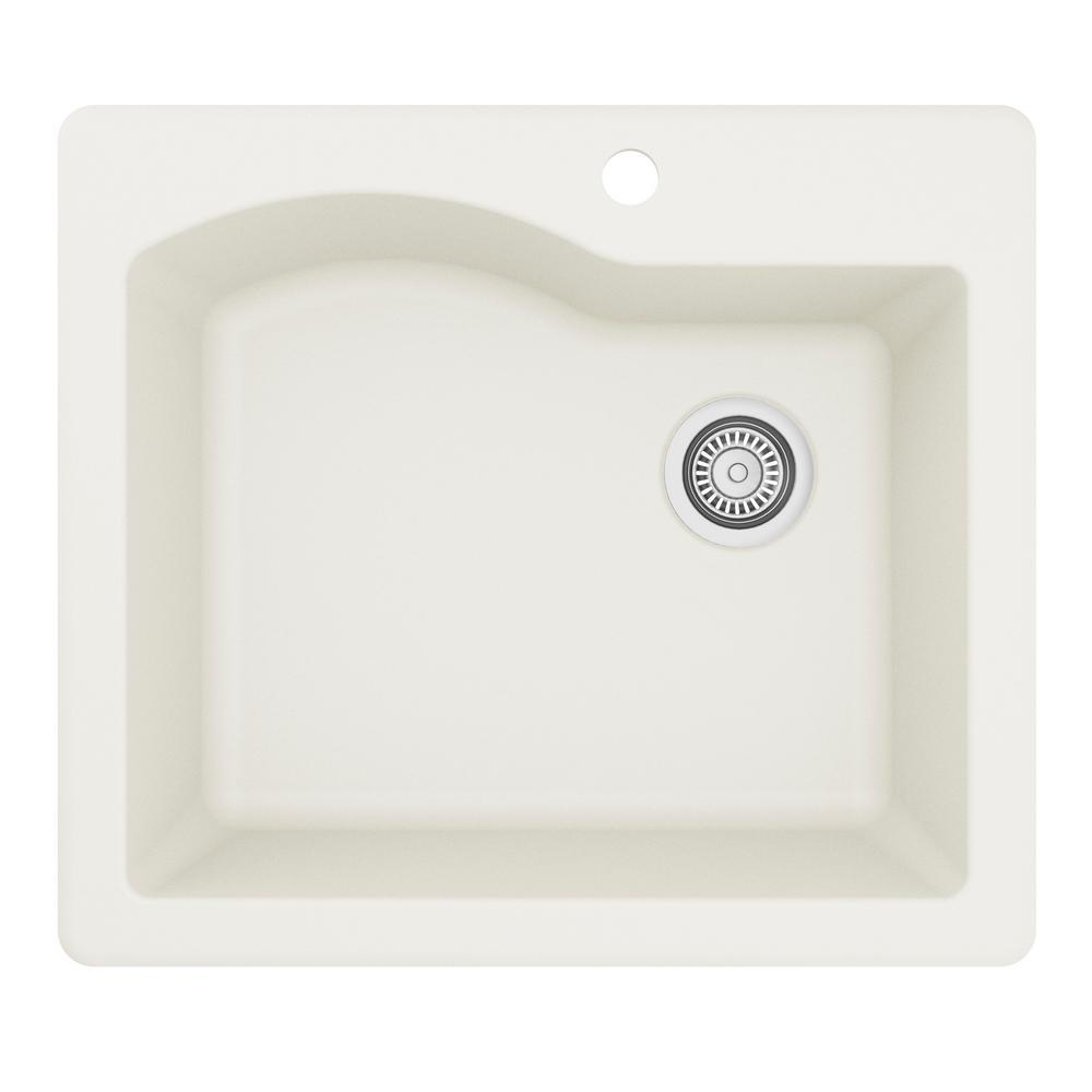 Karran Drop-In Quartz Composite 25 in. 1-Hole Single Bowl Kitchen Sink in White