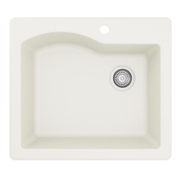 Drop-In Quartz Composite 25 in. 1-Hole Single Bowl Kitchen Sink in White