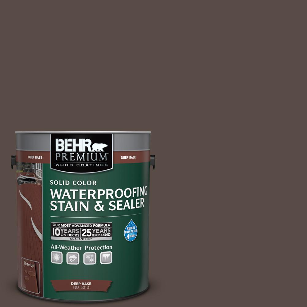 1 gal. #PPU5-19 Dark Truffle Solid Color Waterproofing Exterior Wood Stain