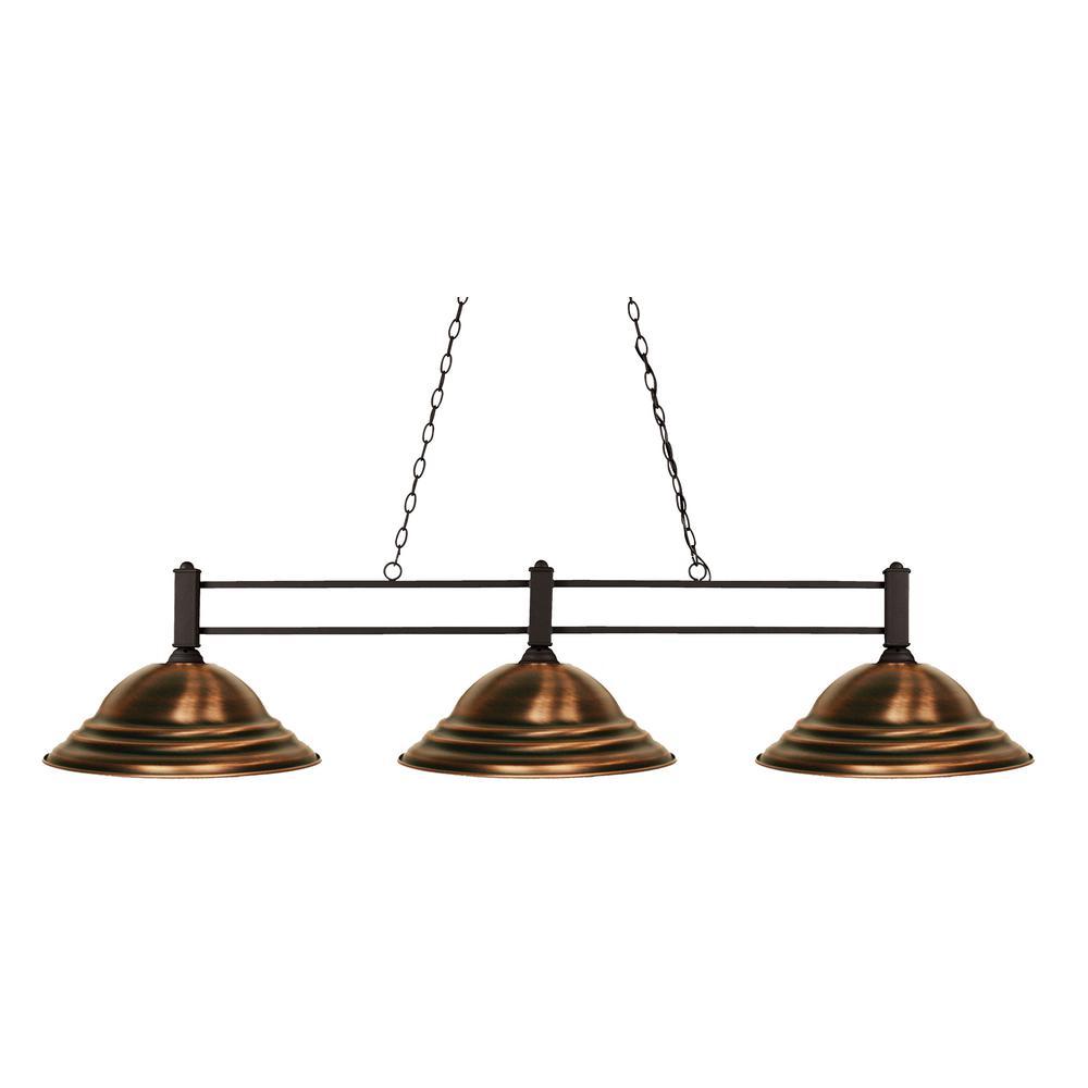 Pavao 3 Light Bronze Billiard Light With Antique Copper Steel Shade