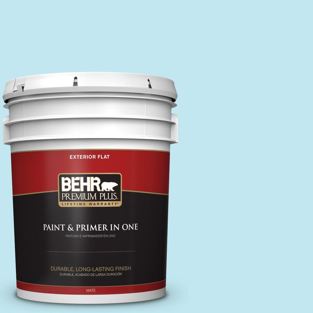 BEHR Premium Plus 5-gal. #520A-2 Ice Flower Flat Exterior Paint