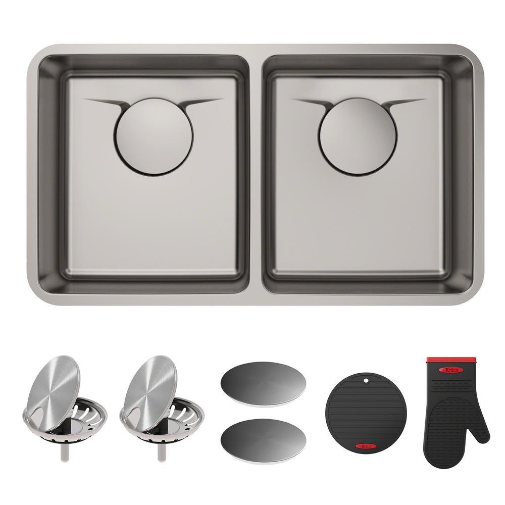Dex Undermount Stainless Steel 33 in. 50/50 Double Bowl Kitchen Sink