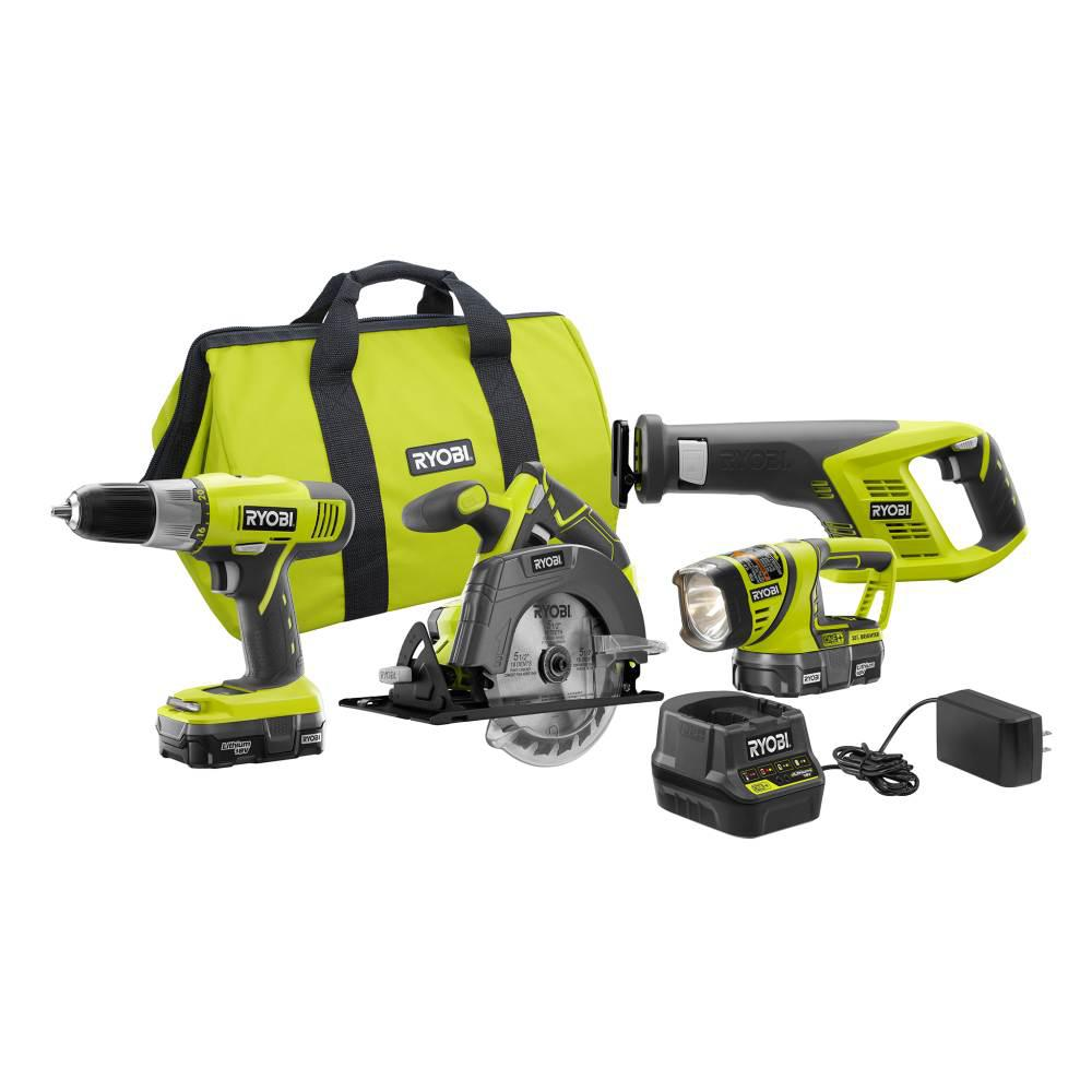 RYOBI 18-Volt ONE+ Lithium-Ion Cordless 4-Tool Super Combo Kit with (2) 1.3 Ah Batteries, Dual Chemistry Charger and Tool Bag