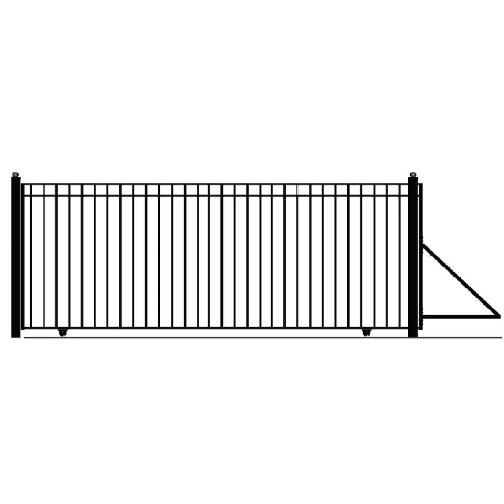 Madrid Style 18 ft. x 6 ft. Black Steel Single Slide Driveway Fence Gate