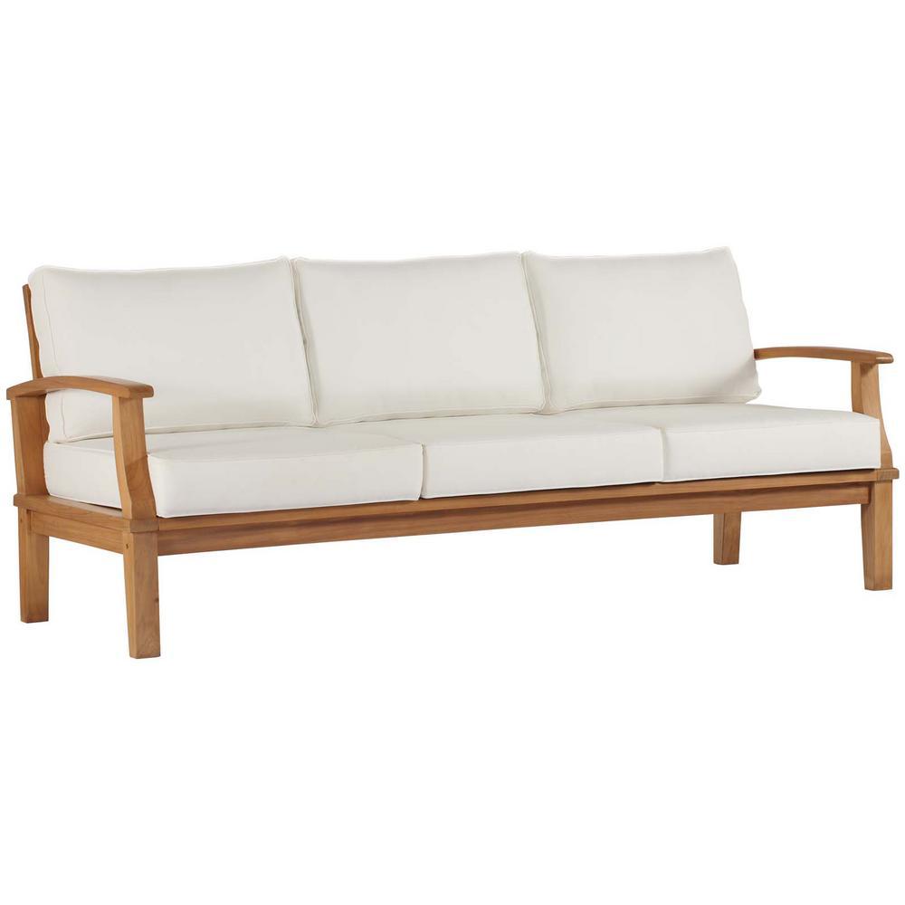 Marina Natural Teak Outdoor Sofa with White Cushions