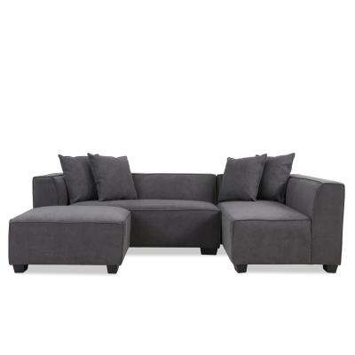 Phoenix Sectional Sofa with Ottoman in Dark Gray Plush Low-Pile Velvet