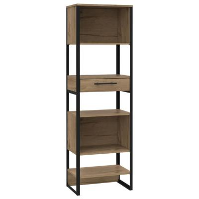 Emery 63 in. x 20 in. Natural Wood Slim Bookcase with Plated Steel Frame