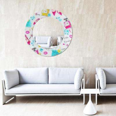 "36 in. x 36 in. ""Beautiful"" Round Beveled Mirror on Free Floating Reverse Printed Tempered Art Glass"