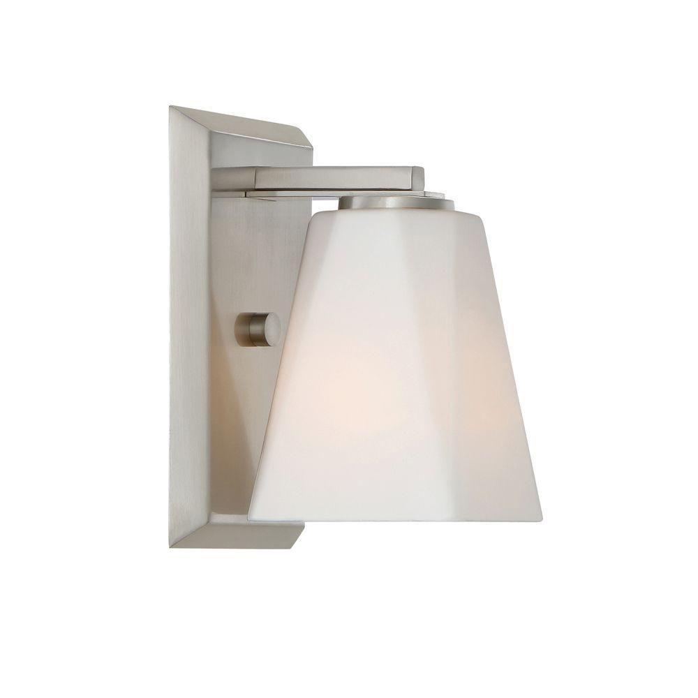 Designers Fountain Cornerstone 1-Light Satin Platinum Interior Wall Sconce