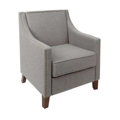 Stevenson Light Grey Sloped Arm Upholstered Club Chair with Nailhead Trim