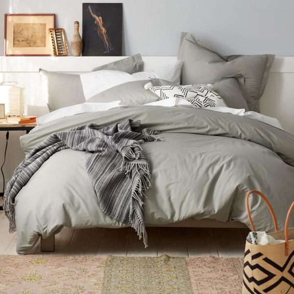 Organic 3-Piece Taupe Solid Cotton Percale Full Duvet Cover Set