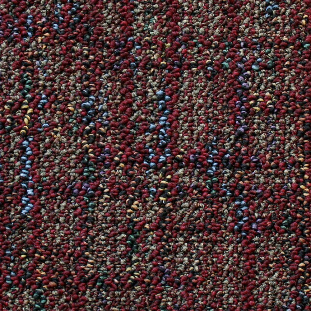 TrafficMASTER Business Case - Color Burnt Ember Patterned Scroll Loop 12 ft. Carpet