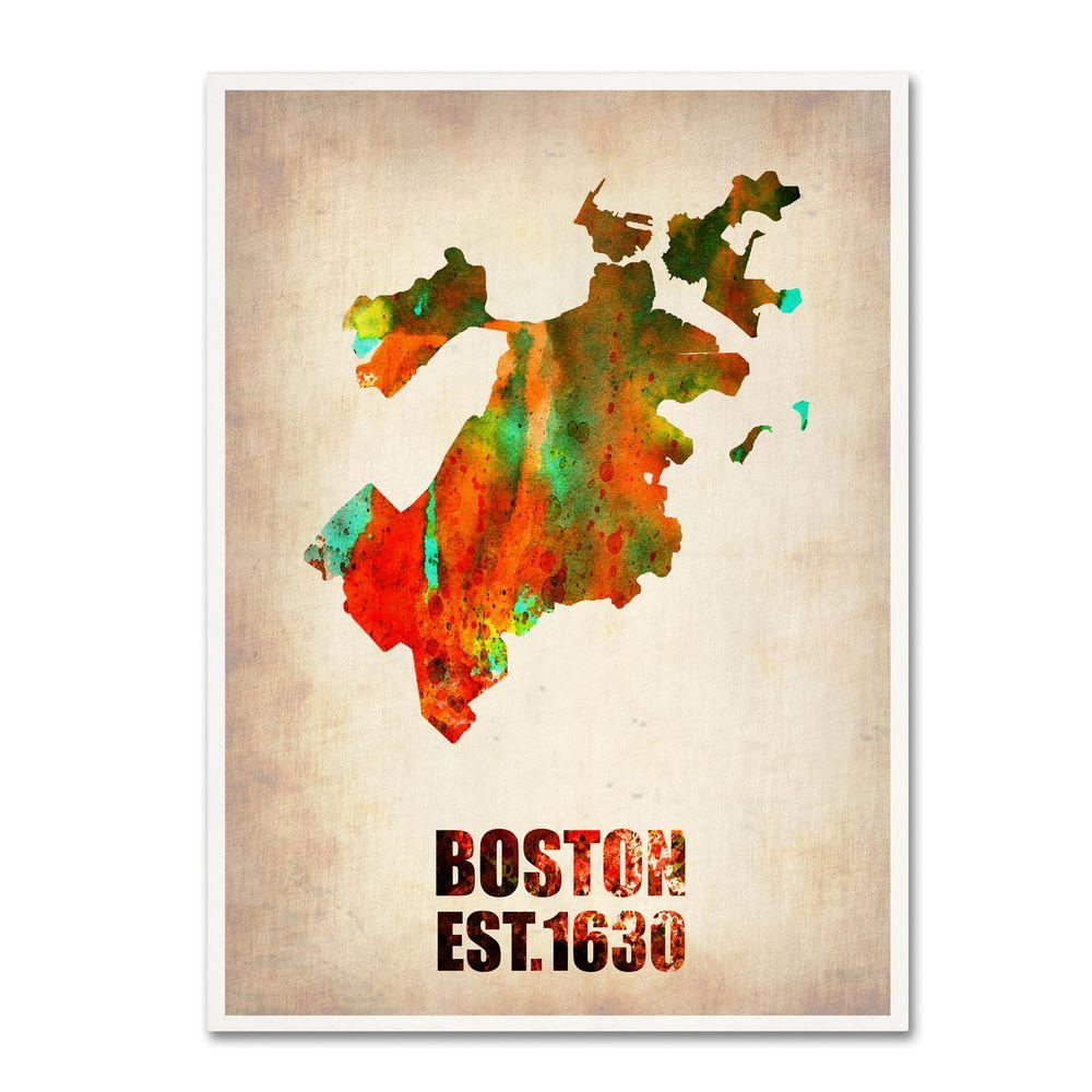 24 in. x 18 in. Boston Watercolor Map Canvas Art