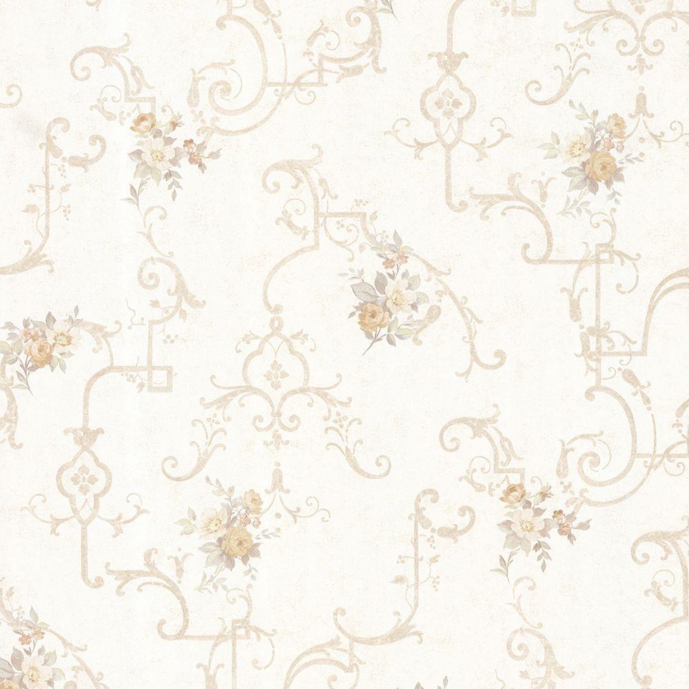 Lori Taupe Floral Trellis Wallpaper