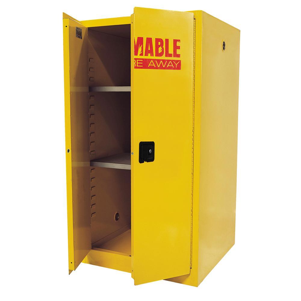 65 in. H x 34 in. W x 34 in. D Steel Freestanding Flammable Liquid Safety Double-Door Cabinet in Yellow