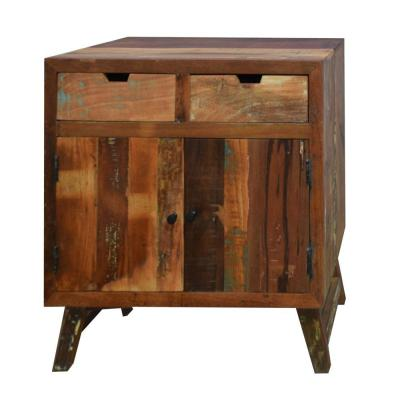 33.46 in. H Distressed Brown 2-Drawer Handcrafted Wooden Storage Cabinet with 2-Doors