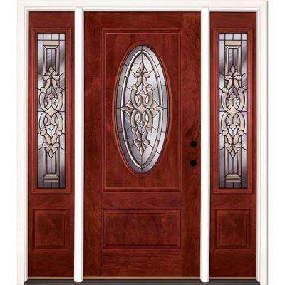 67.5 in.x81.625in.Silverdale Patina 3/4 Oval Lt Stained Cherry Mahogany Lt-Hd Fiberglass Prehung Front Door w/ Sidelites