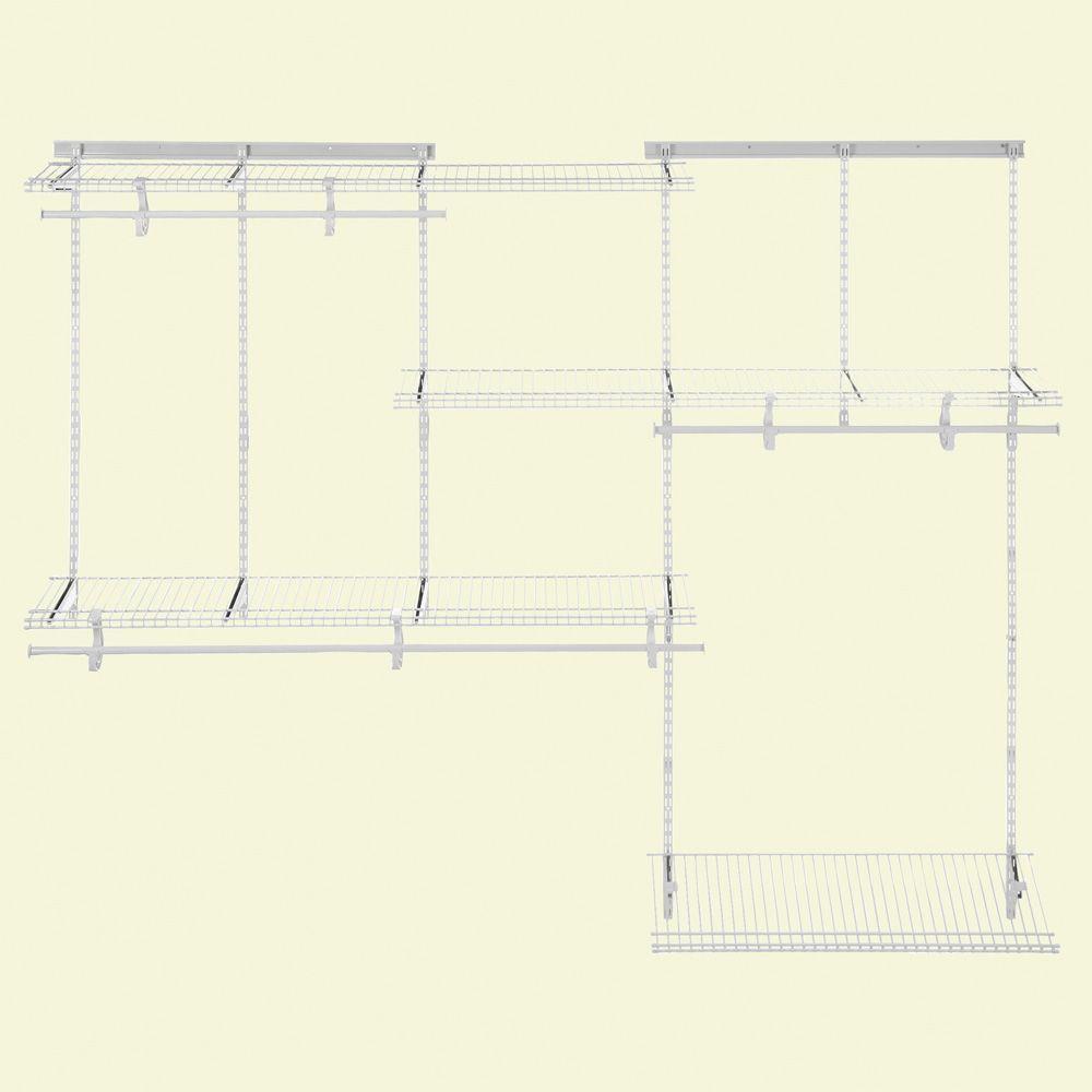 13 in. D x 96 in. W x 78 in. H ShelfTrack 5 ft. - 8 ft. Steel Closet System Organizer Kit with Shoe Shelf