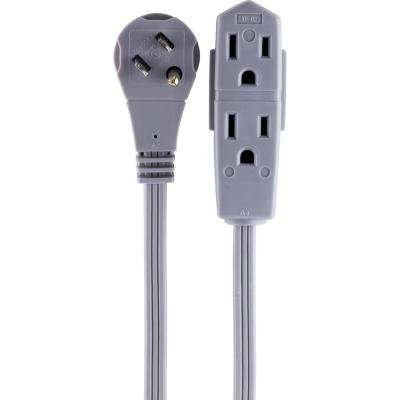 15 ft. 3-Outlet Grounded Office Cord with Right Angle Plug, Gray