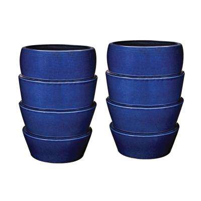 Denim Crackle 14 in. Layered Earthenware Decorative Vases in Blue (Set of 2)