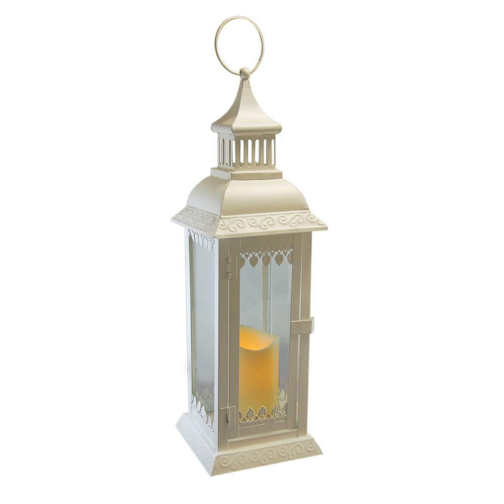 18 in. Warm White Leaf Metal LED Lantern