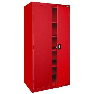 Elite Series 72 in. H x 36 in. W x 24 in. D 5-Shelf Steel Recessed Handle Storage Cabinet in Red