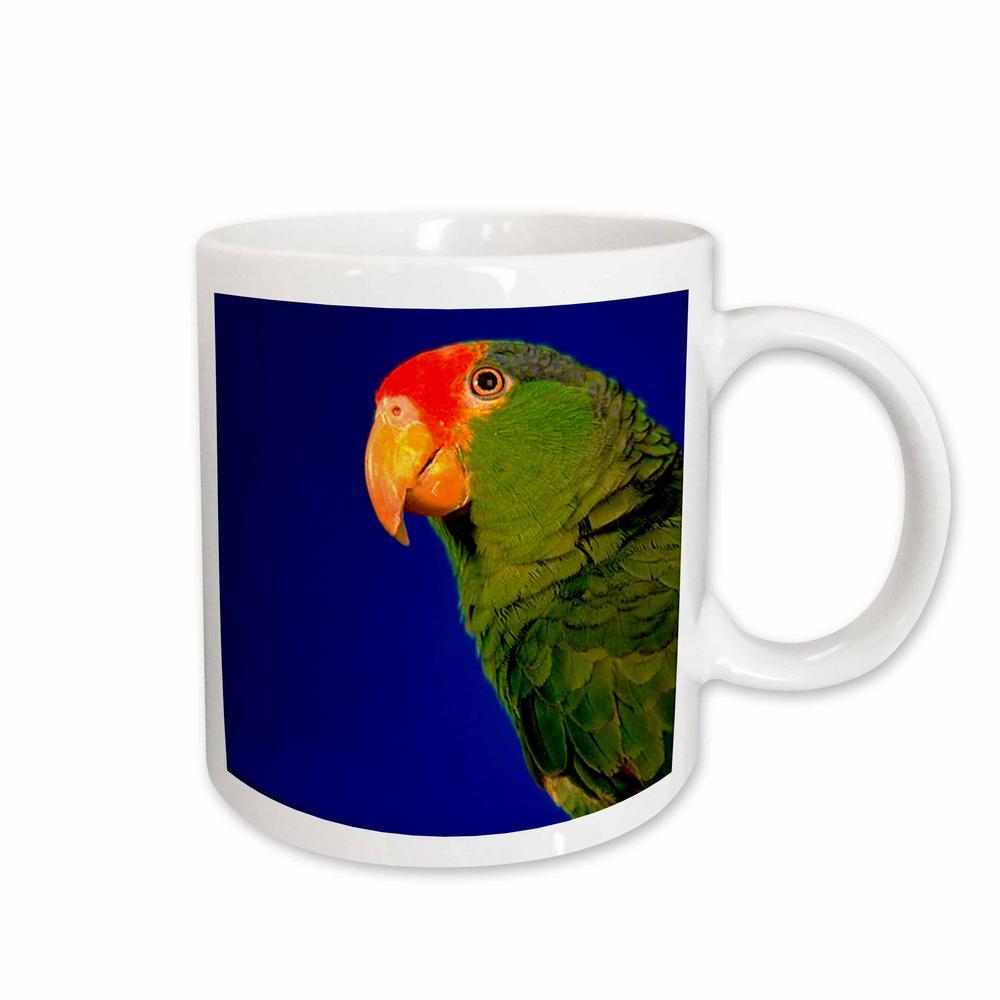 Birds 11 oz. White Ceramic Green Cheeked Amazon Parrot