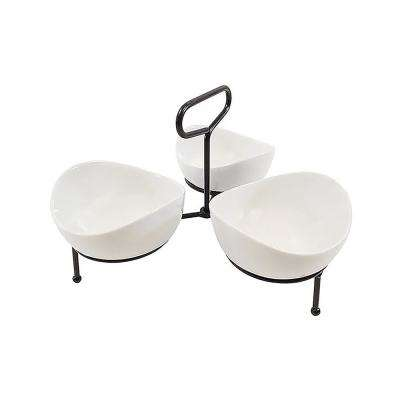 White 3-Section Condiment Server