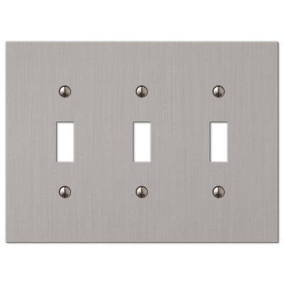 Barnard 3 Gang Toggle Metal Wall Plate - Brushed Nickel