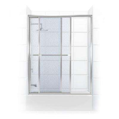 Paragon Series 56 in. x 55 in. Framed Sliding Tub Door with Towel Bar in Chrome and Obscure Glass